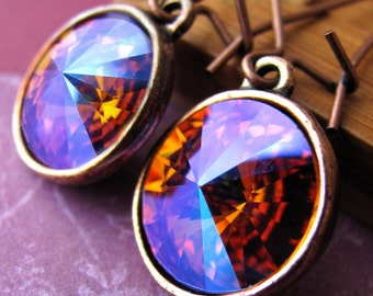 Iced Fire Crystal Earrings - Swarovski Rivoli Crystals, Magenta, Hot Pink, Orange, Cool Blue, Antiqued Copper Bezel, Modern Earrings