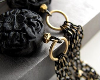 Black Gold Chain Tassel Earrings, Black Carved Flower Earrings, Black Faux Cinnabar Beads, Long Chain Earrings, Asia Asian Far East Style