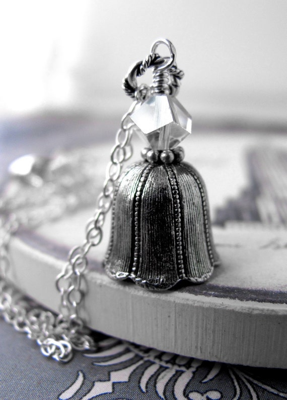 Antiqued Silver Bell Necklace - Clear Crystal, Sterling Silver Chain, Vintage Style Winter Wedding, Bridal Jewelry, Christmas Jewelry
