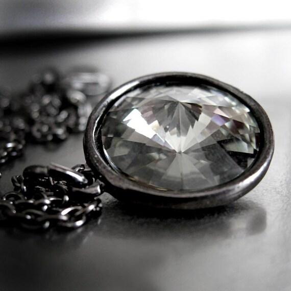 Black Diamond Crystal Necklace, Swarovski Rivoli Crystal Pendant Black Gunmetal Chain Goth Gothic Jewelry Formal Bridesmaid 1122