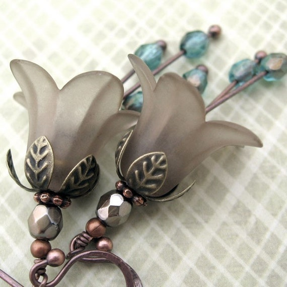 Romantic Taupe Smoky Gray Flower Blossom Earrings with Aqua