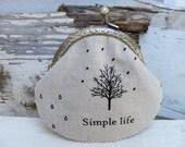 Handmade Simple life  metal frame linen coin purse