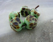 Lime Green Raku Glass Nugget Beads...