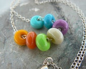 Playful Heart.....Lampwork Glass Beads Sterling Silver Chain.
