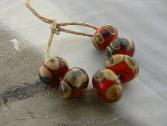 Orange Raku Glass Beads....