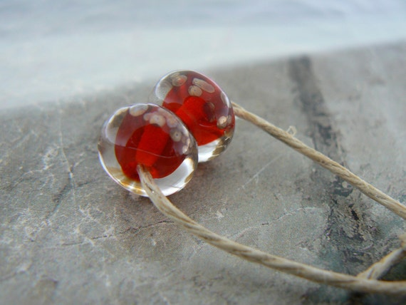 Vintage Style Red Lampwork Glass Beads...