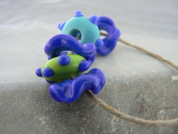 Large Hole Glass Beads...Blue