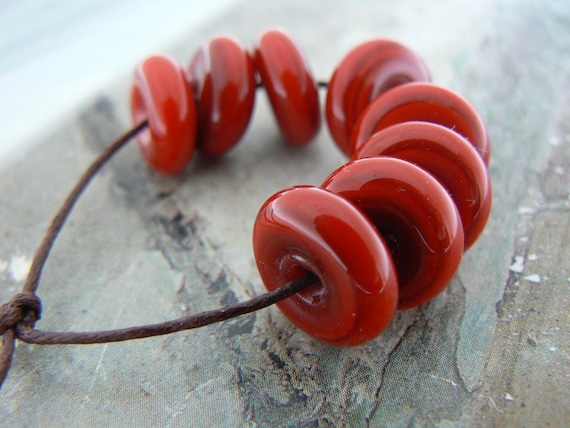 Rich Red Glass Disc Beads