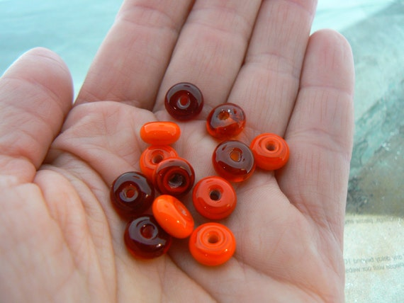 Some Like it Hot...Mini Lampwork Glass Beads Spacers
