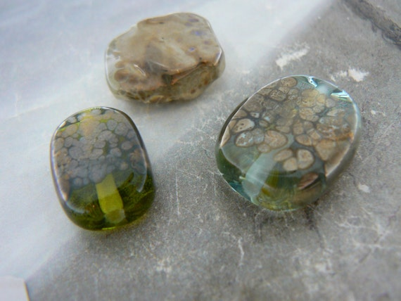 Three Lampwork Glass Focal Beads.