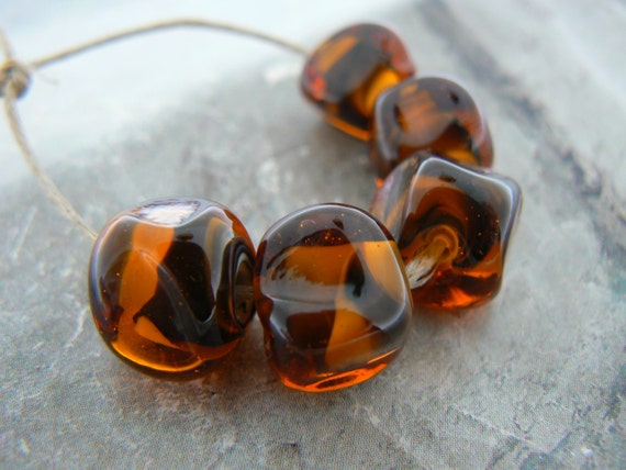 Maple Black Encased Nuggets Handmade Lampwork Glass Beads
