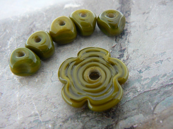 Olive Green Lampwork Glass Flower and Nuggets...