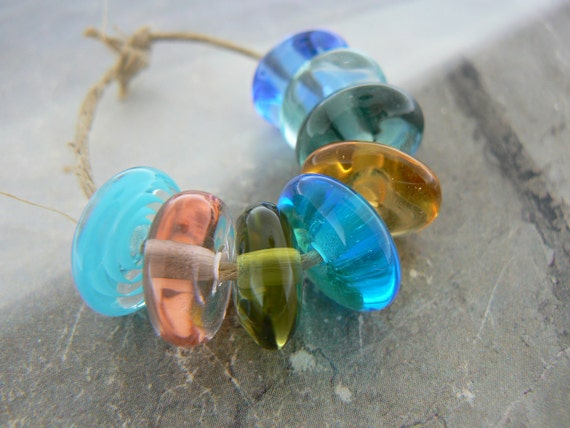 Summer Breeze Handmade Lampwork Glass Beads Discs Spacers