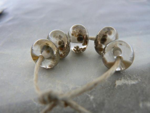 Copper Bronze Brown Handmade Lampwork Glass Beads Petite...