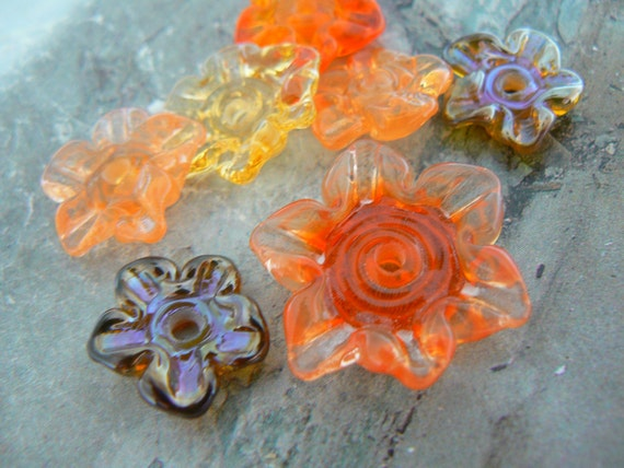 Assorted Glass Flowers Handmade Lampwork  Beads Focal Pendants....