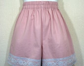 RESERVED      SALE Dusky pink and ice blue lace high waist shorts - Custom size available