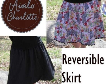 Skirt PDF Sewing Pattern - Aivilo Reversible Skirt - for baby toddler girls juniors and ladies - Instant Download