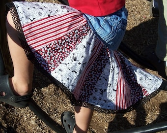 PDF Sewing Pattern - Upcycled Stripe or Patchwork Twirl Skirt - all sizes - Instant Download