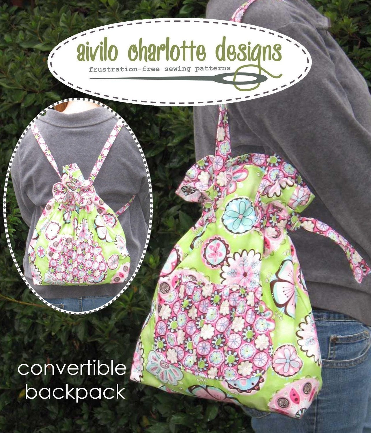 Easy PDF Sewing Pattern Convertible Backpack to Tote
