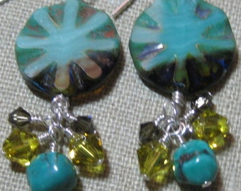 Turquoise Radiance Cluster Dangle Earrings - E787