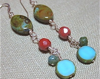 Rust and Turquoise Czech Glass Linear Earrings - E379