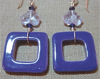 Not Just for Squares Purple Earrings - E382