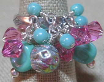 Variety of Mint Czech Glass & Pink Swarovski Crystal Sharon Cluster Dangle Ring One - R078