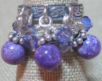 Swarovski Crystal & Purple Kiwi Monster Cluster Dangle Ring - R080