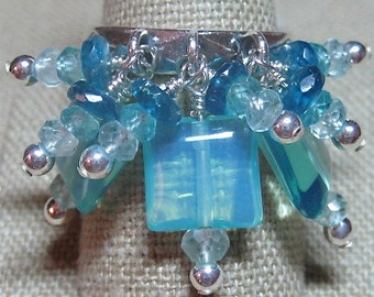 Shades of Blue Apatite, Opalite & Aquamarine All Squared Cluster Dangle Ring - R092