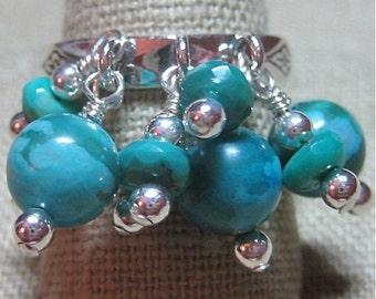 Genuine Turquoise Pepita Princess Cluster Ring - R105