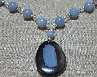 Brown and Blue Agate and Blue Angelite Necklace - N107