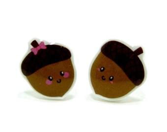 Acorn Earrings - Brown Sterling Silver Posts Studs Kawaii Cute