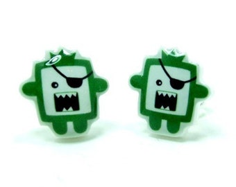 Timmy the Green Pirate Monster Earrings - Sterling Silver Posts Stud Kawaii Cute