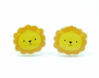 Lion Earrings | Yellow Orange Sterling Silver Posts Studs | Gifts For Her