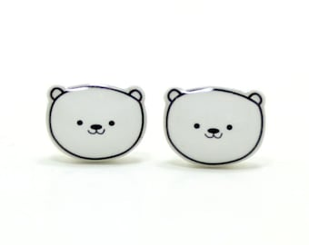 Polar Bear Earrings | Sterling Silver Posts Studs | Gifts For Her