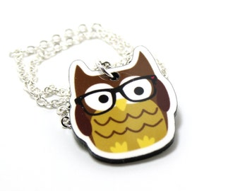 Nerdy Owl Acrylic Charm Necklace on Silver Plated Chain
