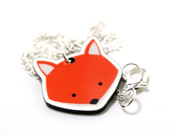 Fox Necklace | Acrylic Fox Charm | Silver Plated Chain