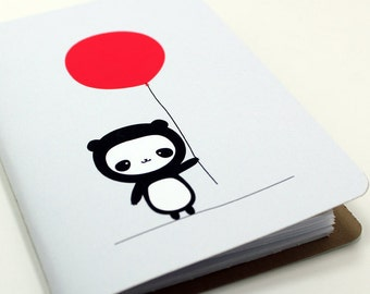 Panda with Red Balloon Pocket Notebook
