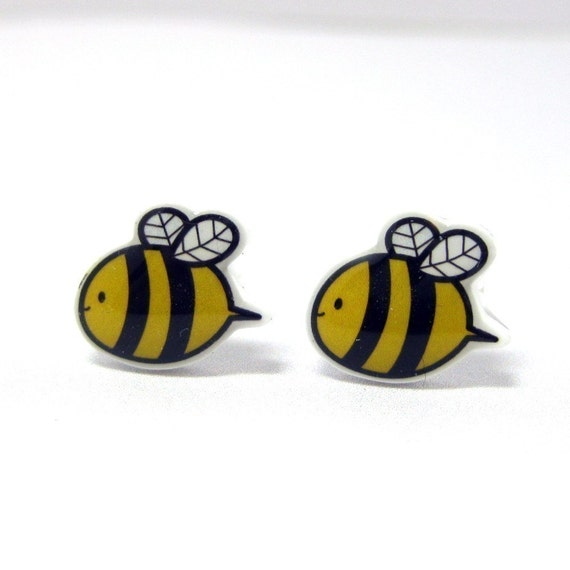 Bumble Bee Earrings - Yellow Black Sterling Silver Posts Studs Kawaii Cute