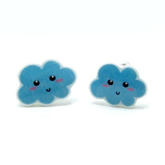 Happy Blue Cloud Earrings | Sterling Silver Posts Studs | Gifts For Her