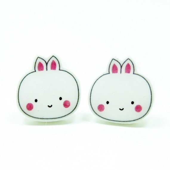 Bunny Earrings   Sterling Silver Posts Studs   Gifts For Her