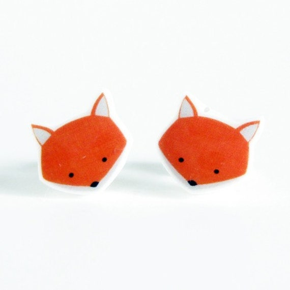 Fox Earrings - Orange Sterling Silver Posts Studs Kawaii Cute