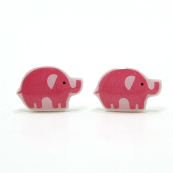 Pink Elephant Earrings - Sterling Silver Posts Studs Kawaii Cute