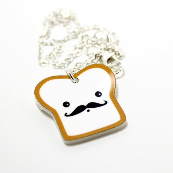 French Toast Acrylic Charm Necklace on Silver Plated Chain