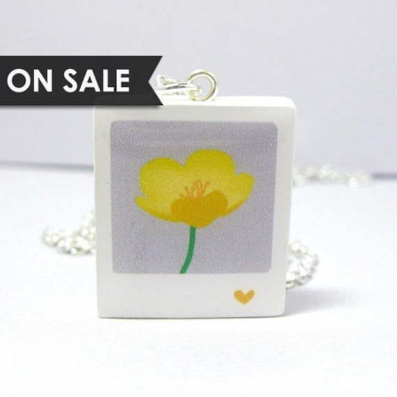 SALE - Buttercup Polaroid Necklace - Yellow Silver Plated 17 inch