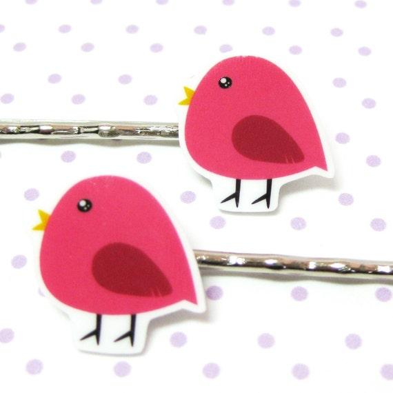 CLEARANCE - Pink Bird Hair Pins