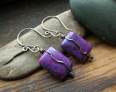 Purple Rectangle Stone earrings with oxidized sterling silver wrap