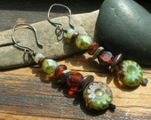 Turquoise Mine Rustic Stack  Picasso Finish Czech Glass and ceramic earrings