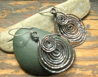Copper  Etruscan Spiral earrings, larger size