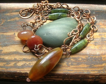 Handmade Copper Chain with Carnelian and Agate necklace